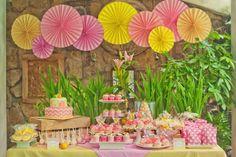 Gorgeous pink lemonade birthday party-dessert table & background