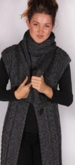 Wool Baa long cabled vest