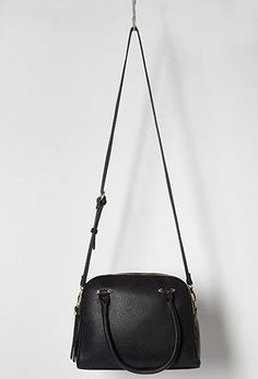 Double-Zip Faux Leather Satchel | Forever 21 - 1000183836 - black small handbag, purse womens, leather handbags online *ad