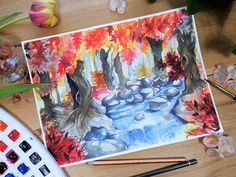 """""""Autumn+Grove""""  Original+painting+by+Kelsey+Yurkow,+2017  Size:+21+x+29.7+cm+(A4)    ►+Made+with+watercolor+paint+&+colored+pencil+on+thick,+300g+cold+pressed+paper+-+lightly+textured.+Signed+&+dated+on+the+back.    ►+Color+and+value+may+vary+slightly+from+the+image+on+the+computer+screen.+The+pa..."""