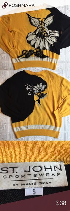 St. John Sweater 🐝 Pre loved. Has minimal signs of wear. Excellent heavy fabric... perfect for Halloween with black skinniest and headband antennae🐝🐝the couture bee St. John Sweaters Crew & Scoop Necks