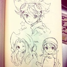 Started marathoning #digimon adventures a few days ago so I did some doodles #sora #taichi #mimi #art #fanart #traditional