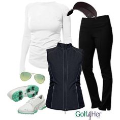 Ladies golf outfit featuring JoFit Slimmer Golf Pant and Lifestyle apparel. #LadiesGolf #golfoutfit