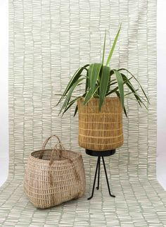 Baskets made in Southern Africa by Design Afrika, fabric by Skinny laMinx. www.designafrika.co.za