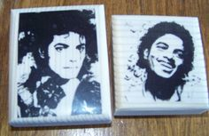 Lot of 2 New Mounted Rubber Stamps - Michael Jackson, Pop Star Young Michael singer famous #handmade #abracadabrastamps