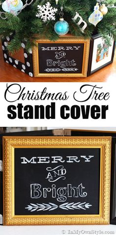 DIY Christmas Decorating Idea. Make a one of a kind personalized Christmas tree stand cover using thrift store picture frames. Fast and easy when you see how clever the frames are attached to one another. |  In My Own Style