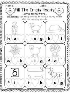 Enjoy this Valentine's Day themed FREEBIE! Students find the missing sounds from the CVC words and write them into the heart! Very cute!   All that I ask is that you FILL MY EMPTY HEART by leaving some honest, constructive COMMENTS regarding my work! :)   Thank you!!!!