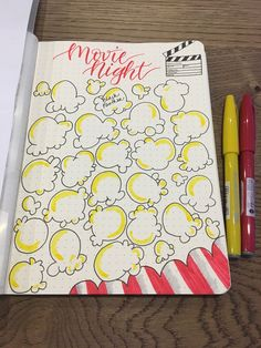 Movie Night Popcorn bullet journal tracker inspiration Holiday Tips Bullet Journal Lists, Bullet Journal Writing, Bullet Journal Tracker, Bullet Journal Aesthetic, Bullet Journal Spread, Bullet Journal Layout, Bullet Journal Vacation, Bullet Journal Ideas How To Start A, Bullet Journal Decoration
