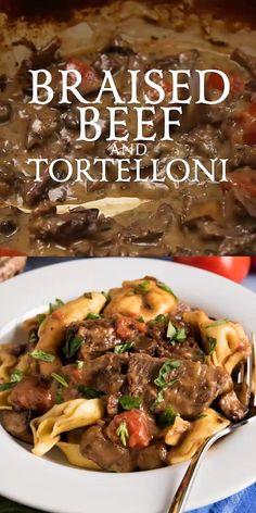 beef dishes An Olive Garden copycat recipe, this Braised Beef and Tortelloni is loaded with tender chunks of beef in the most amazing Marsala wine sauce, and spooned over Asiago cheese tor Healthy Beef Recipes, Beef Recipes For Dinner, Ground Beef Recipes, Cooking Recipes, Recipes With Beef Bouillon, Recipes With Beef Cubes, Stew Meat Recipes Quick, Beef Chunks Recipes, Beef Dinner Ideas