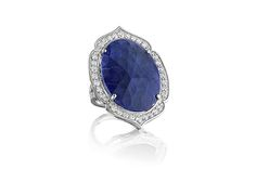 Gemstone Spotlight: Penny Preville. Preville's oval-shaped sapphire split-shank ring with diamonds and 18-karat white gold ($11,675)