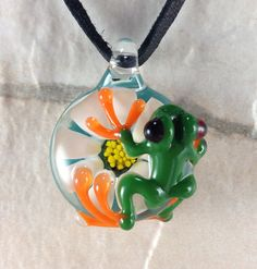 Frog and flower necklace glass beads pendant Handmade custom jewelry Lampwork beads Glass flowers Boro beads