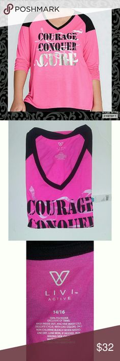 Livi Active Bright Pink Top Courge Conquer Cure bright pink and black top. Size 14/16. New with tags. 100% polyester comfortable light material. Beautiful design sure to please. Quarter sleeve shirt. Livi Active  Tops