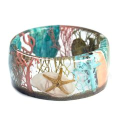 Coral and Turquoise Bracelet Starfish Bangle by ModernFlowerChild Teal Jewelry, Summer Jewelry, Cuff Bracelets, Bangles, Shell Bracelet, Coral Color, Starfish, Sea Shells, Turquoise Bracelet