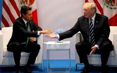 Mexican President Enrique Pena Nieto meets Donald Trump at the G20 in Germany  the Trump reported that Mexican President had called him...  Mexican President Enrique Pena Nieto said on Monday he had not recently spoken to Donald Trump on the phone, after the US leader boasted his counterpart had called him to praise his border policy.  Can we or the world believe one word this confused erratic incoherent, character has to say? And I do mean Trump