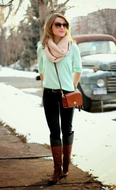 Long Boots With Mint T-shirt and Scarf Click for More
