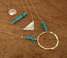 Gold Turquoise Necklace, Hammered Gold Circle Necklace, Kingman Turquoise and Gold Jewelry Southwestern Long Gold Turquoise Layered Necklace by StoneWestJewelry on Etsy https://www.etsy.com/listing/221717445/gold-turquoise-necklace-hammered-gold