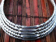 Twisted Silver Miao Hmong Tribal Choker Necklace Bohemian Gypsy Ethnic Statement Jewelry