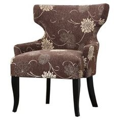 """Bring visual appeal to your living room or master suite with this lovely t-backed accent chair, showcasing floral-print upholstery and exposed wood legs.    Product: ChairConstruction Material: Fabric and woodColor: BrownFeatures:  Floral-print upholsteryT-back design Dimensions: 34"""" H x 26.5"""" W x 29"""" D"""