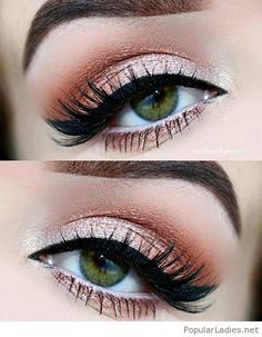 Modern style of golden-brown make-up. Beautiful woman eyes[/caption...