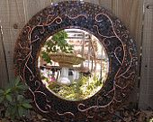 Large Decorative Mosaic Art Mirror - Unique Copper Brown and Black Stained Glass Mirror with Copper Wire Design