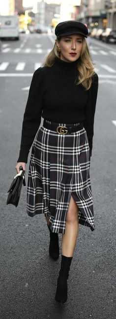 Pleated plaid midi skirt, black puffed-shoulder turtleneck, black sock boots, baker boy cap and black leather waist belt {Burberry, Anthropologie, Stuart Weitzman, Gucci, M2Malletier, Brixton, classic style, fall style, classy dressing, wear to work, casual office, casual Friday, fashion blogger, street style}