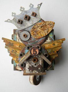 """Rustic Bird"" -Recycled Art Assemblage      jen-hardwick.com"