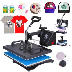 5 In 1 Digital Heat Press Machine Sublimation For T-Shirt/Mug/Plate Hat Printer…