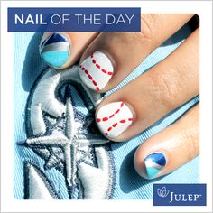 Baseball Nails:  I did this put with red and blue with white dots, and white thumbs with Matt's number in blue (one number on each nail). Better done with short nails.