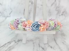 A mix of pastel colors flower crown. ---------------------------------------------- THIS ITEM IS SHIPPED FROM THAILAND ----------------------------------------------  SHIPPING: It takes around 2-4 weeks to most places. See how long it will take to your country here.  https://www.etsy.com/shop/musefleur?ref=hdr_shop_menu#policies  CANADIAN CUSTOMERS PLEASE NOTE: I am not sure what happens to your post but mail going there can take up to 2 months.  **MALTA CUSTOMERS, we...