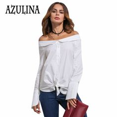 20d4d62039780 Aliexpress.com   Buy AZULINA Sexy slash neck white shirt Women autumn 2016  long sleeve off the shoulder top femme Casual loose blouse shirt ladies  from ...