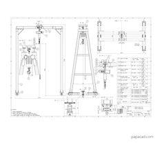 Gantry crane plans pdf papacad.com Crane Drawing, Technical Documentation, Crane Design, Gantry Crane, 3d Cad Models, Steel Structure, Technical Drawing, Autocad, Engine