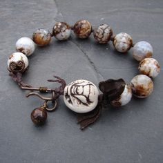Porcelain Bee and Agate Handmade Bracelet by ForMySweetDaughter