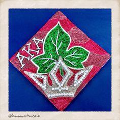AKA/Campus Queen Theme - #Love #art #DIY #glitter #favorite #style #cool #inspiration #stuff #ideas #like #things #graduation #caps #best Alpha Kappa Alpha Sorority 1908 @Kristin Artwork Art, Paint, Paint Party, Graduation Caps, Canvas, Glitter