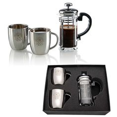 """It's always the perfect time to """"espress"""" yourself with the personal espresso set! A great employee gift that's guaranteed to keep you awake throughout the day, this metal and glass, personal espresso set includes one French press and two stainless steel mugs. The French press measures 5 1/4"""" w x 7"""" h x 3"""" d. The mug measures 4 1/4"""" w x 3 1/2"""" h x 3 1/4"""" d. It's wonderful for any event. Have your logo or message laser etched on yours today!"""