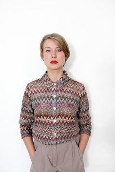Vintage shirt / zig zag earth tones button up / size M by nemres, $35.00