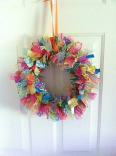 Summertime Fabric Rag Ribbon Wreath Summer by RagWreathsbyMissVal, $45.00