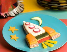 Party foods ... make this cute Rocket ship sandwich for the kids party