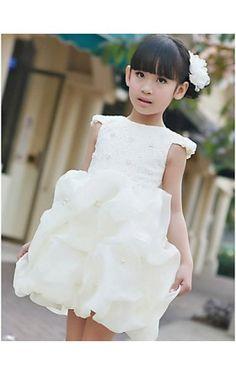 Ball Gown Bateau Beading Satin Knee-length Flower Girl Dress