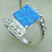 1~Beautiful Blue Fire Opal and White Topaz mounted on Silver Ring