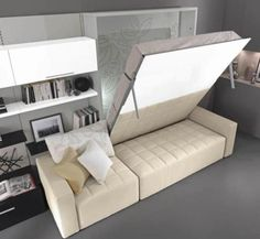 Murphy Bed Ideas – Dealing with a small bedroom is quite tricky for you as the owner of the room, especially if you like to . Murphy Bed Office, Murphy Bed Couch, Murphy Bed Plans, Murphy Beds, Small Space Interior Design, Home Office Design, Interior Design Living Room, Office Style, Bedroom Furniture