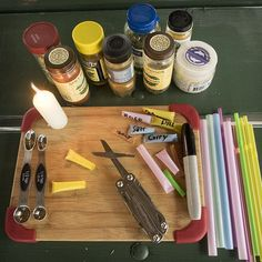 Camping Hack: Flame-sealed sections of drinking straws make handy spice holders.