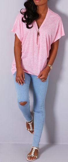 Pink Boutique Noalie pink zip jersey #top http://www.pinkboutique.co.uk/new-in/noalie-pink-zip-jersey-top.html #pinkboutique