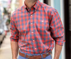 Bold Gingham patterns come together with the highest-quality, wrinkle-free poplin fabric for a classic dress shirt fit for the Southern gentleman. Casual Attire, Men Casual, Duck Logo, Southern Marsh, Lounge Shorts, Gingham Dress, Button Down Collar, Poplin Fabric, Dress Shirt