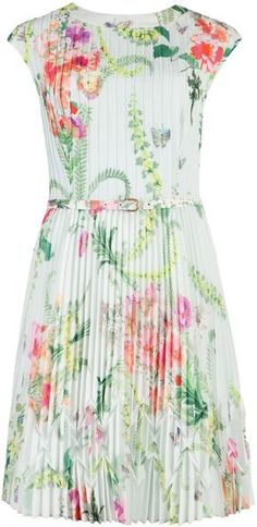 Ted Baker Perlaa Wallpaper Floral Pleated Dress in Floral (mint) - Lyst