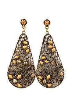 Folk Art Teardrop Earrings   Awesome Selection of Chic Fashion Jewelry   Emma Stine Limited