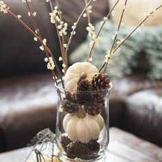 Simple fall decoration. Pinecones and white pumpkins.