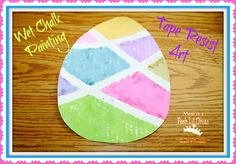 Mom to 2 Posh Lil Divas: Wet Chalk Tape Resist Easter Egg Painting- could do this with other object shapes too Easter Art, Easter Projects, Easter Crafts For Kids, Toddler Crafts, Easter Eggs, Easter Stuff, Art Projects, Spring Crafts, Holiday Crafts