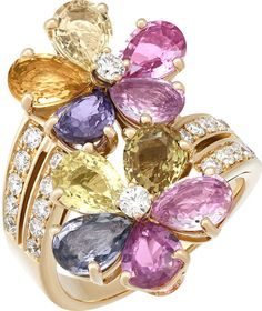 Shop Estate Multicolored Sapphire & Diamond Flower Cocktail Rings, Size from BVLGARI at Neiman Marcus Last Call, where you'll save as much as on designer fashions. Wide Band Diamond Rings, Colored Diamond Rings, Diamond Studs, Diamond Jewelry, Diamond Flower, Sapphire Diamond, Sapphire Rings, Green Sapphire, Diamond Pendant