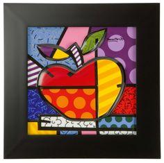 'Big Apple' by Romero Britto Framed Graphic Art Print on Porcelain Metro Lane Philippe Berry, Pop Art, Kunst Online, Porcelain Jewelry, Porcelain Vase, Fine Porcelain, Arte Pop, Rock Crafts, Tapestry Weaving