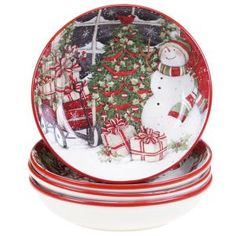 Snowman's Sleigh Red 9.25 in. Soup and Pasta Bowl (Set of 4)-31330SET/4 - The Home Depot